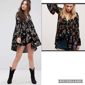 NWT FREE PEOPLE Just Two Of Us Floral Tunic Dress